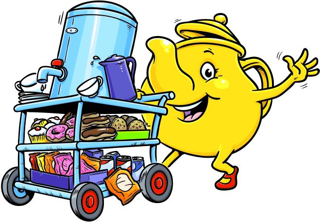 Teapot cartoon character with tea trolley