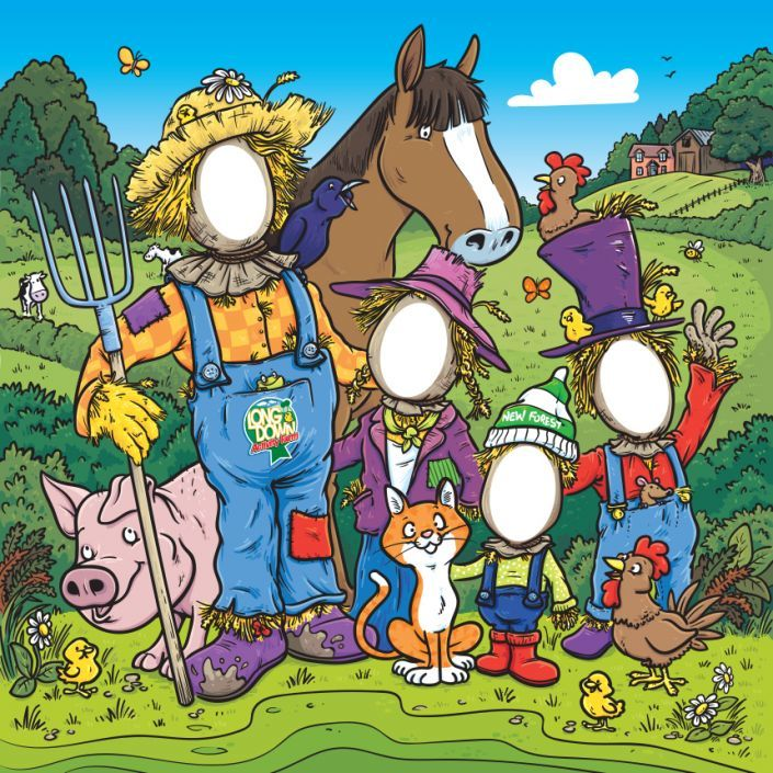 Cartoon illustration for a photo opportunity board featuring scarecrows