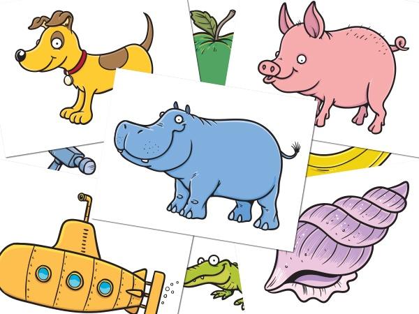 Cartoon flashcards for children