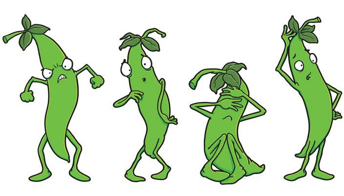 Cartoon bean characters
