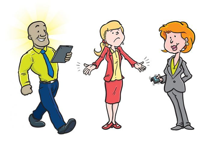 Cartoons of people for mobile network