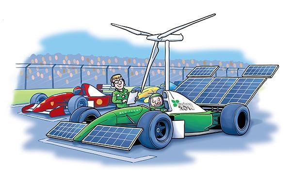 Eco-friendly Formula 1 car cartoon