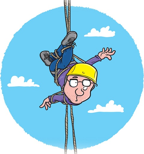 Simon's cartoon of his upcoming abseiling