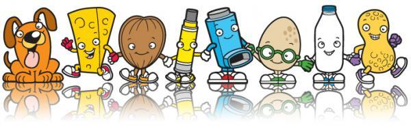 A selection of some of the Allergy Kids characters