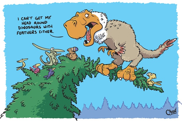 Dinosaurs with feathers cartoon