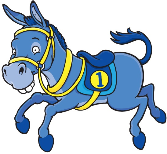 One of the Gibson Game's Donkey Derby characters