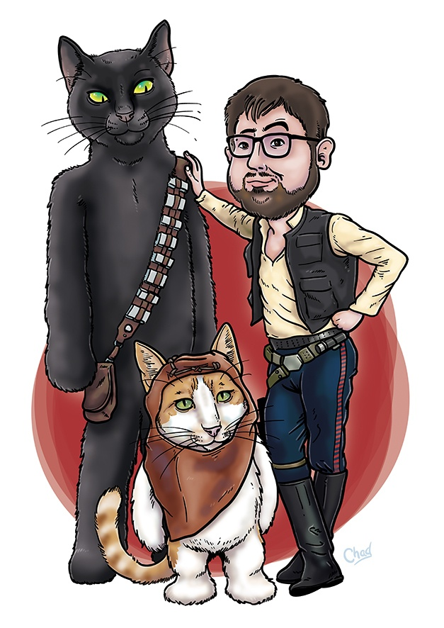 Using cats and Star Wars for a birthday cartoon