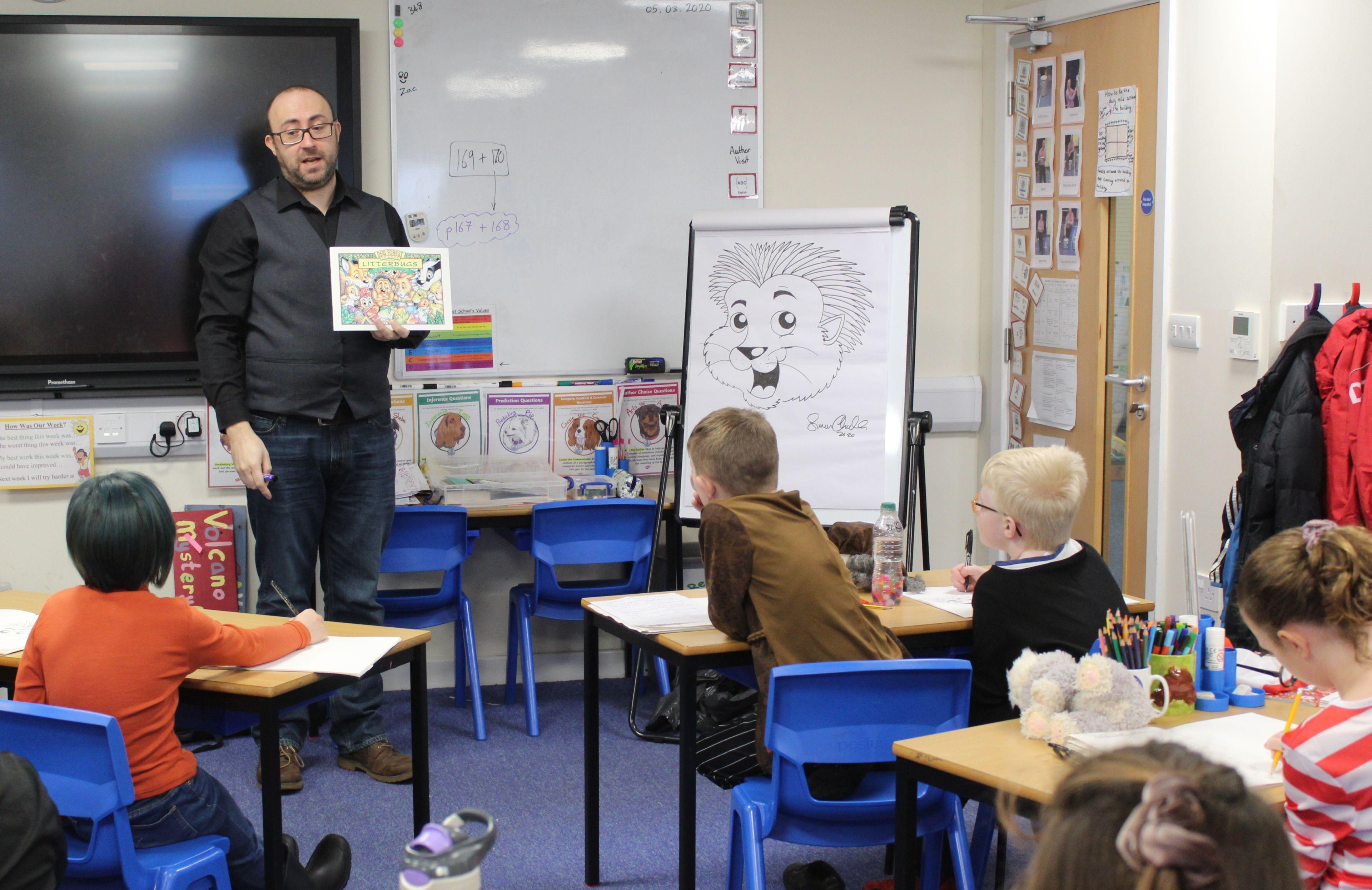 Simon Chadwick with children from Hillside School in Dorset