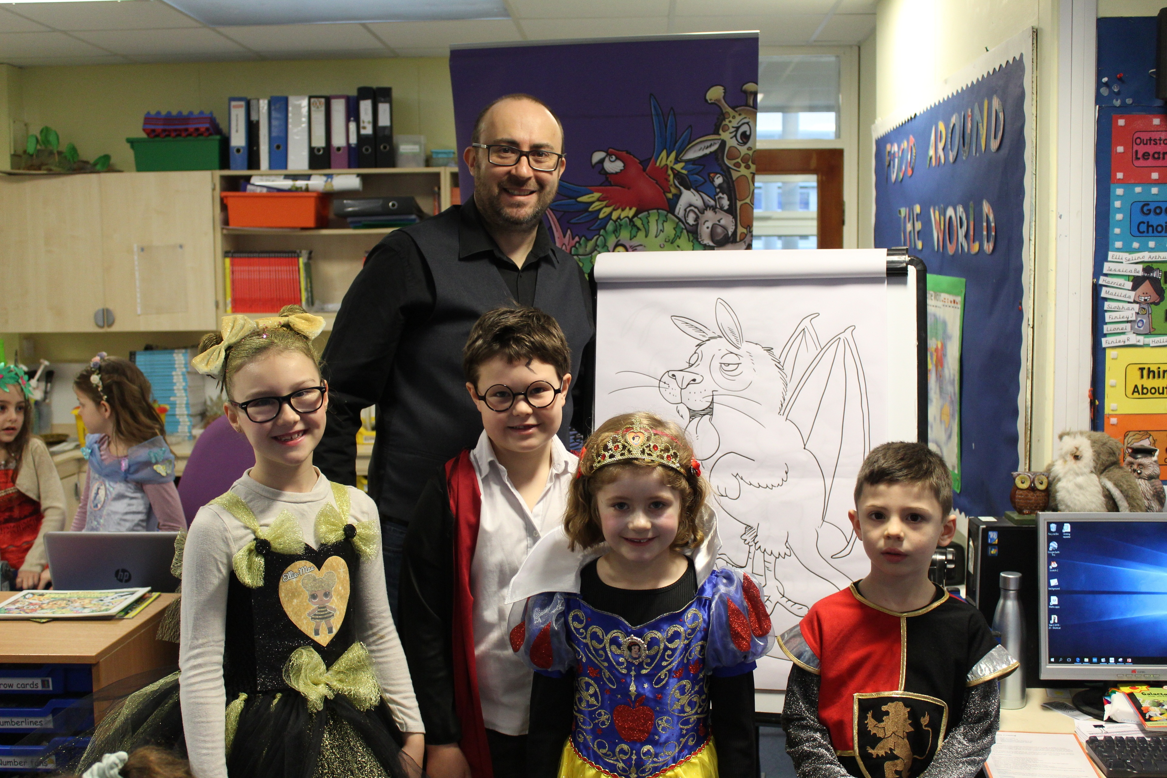 Simon Chadwick with some of the Hillside children