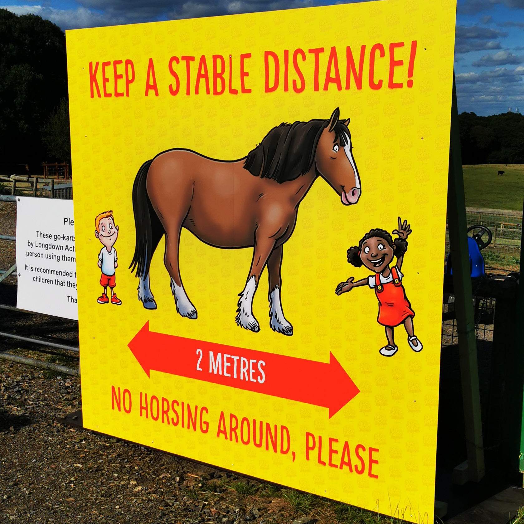 The Stable Distance Sign at Longdown Activity Farm