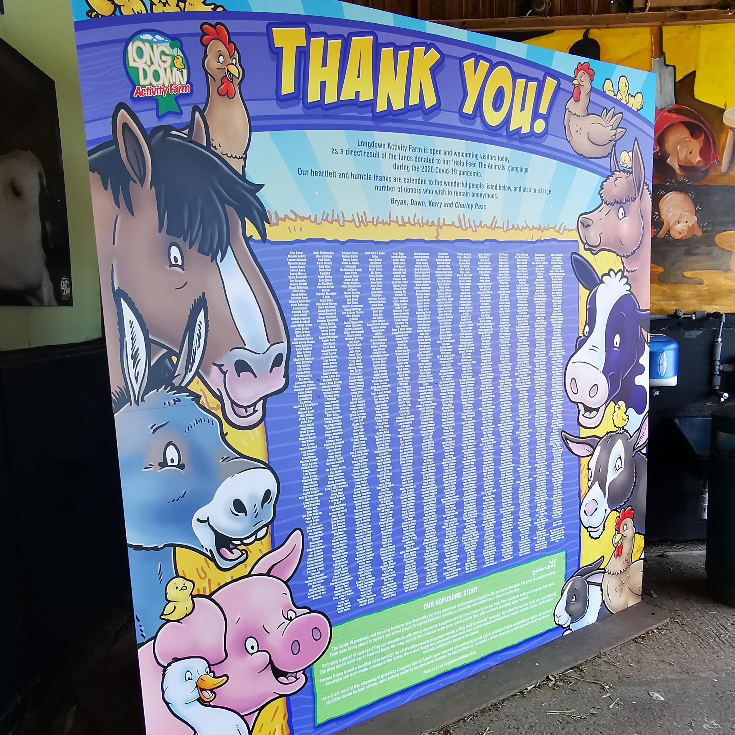The Thank You Board at Longdown Activity Farm