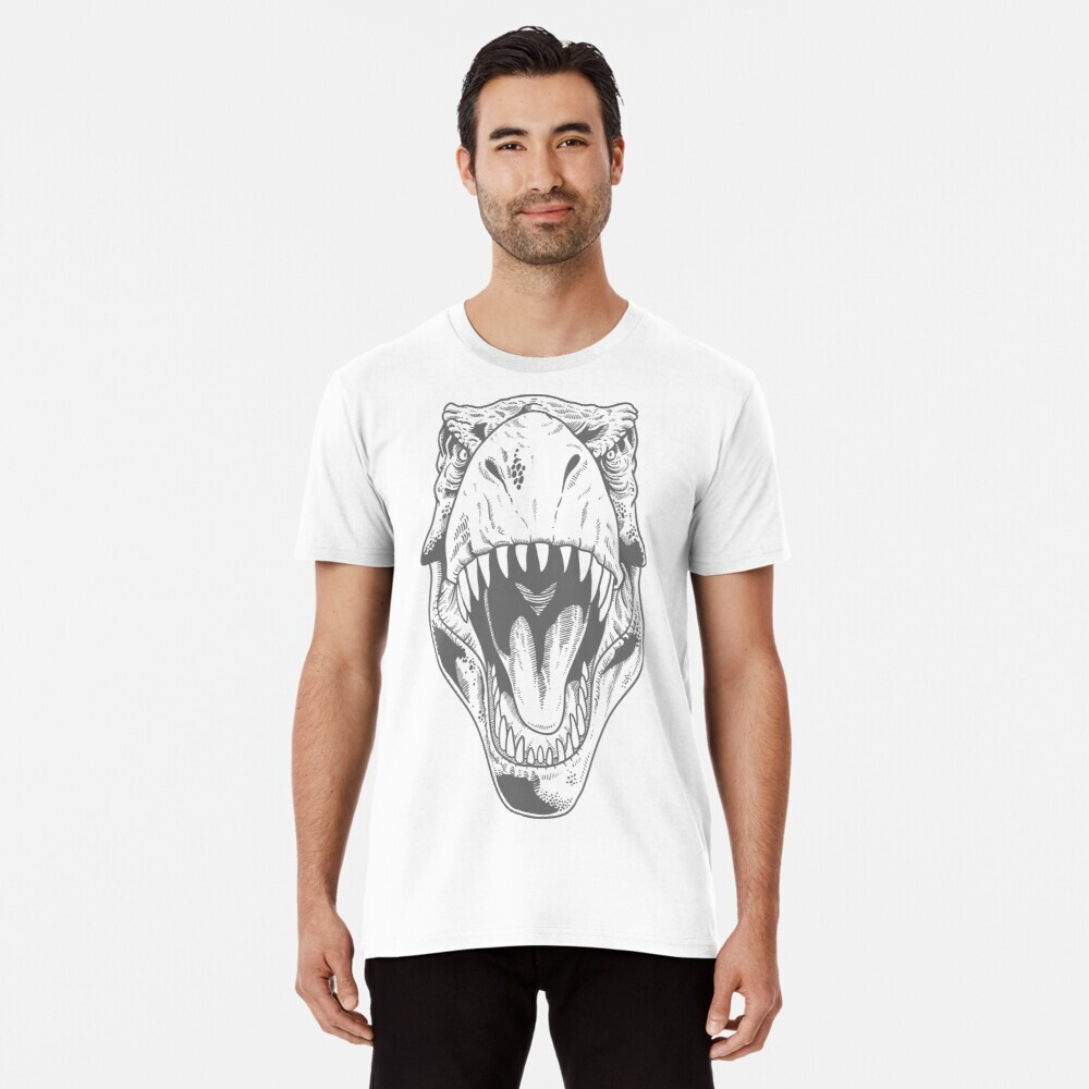 T-rex head on a white t-shirt being worn by a model