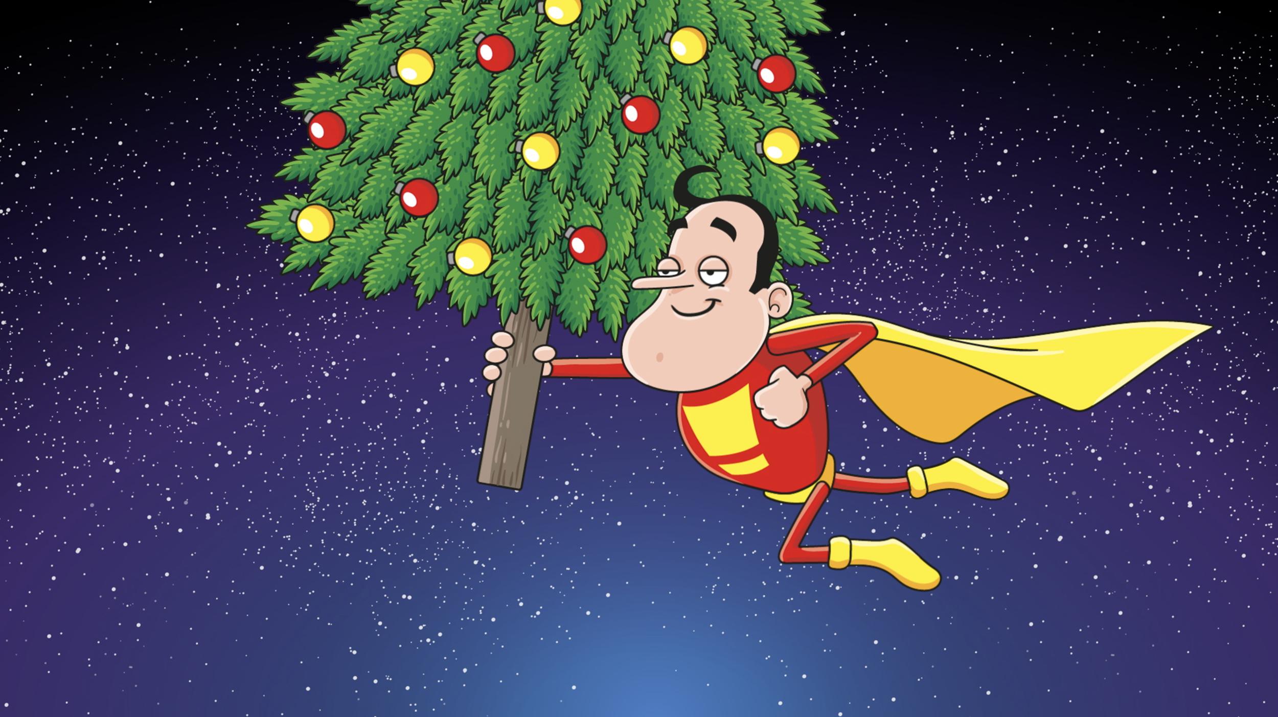 Christmas superhero animation