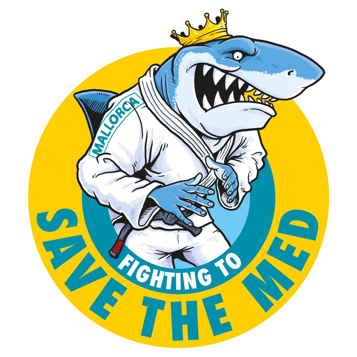 Cartoon of a shark wearing a jujitsu gi