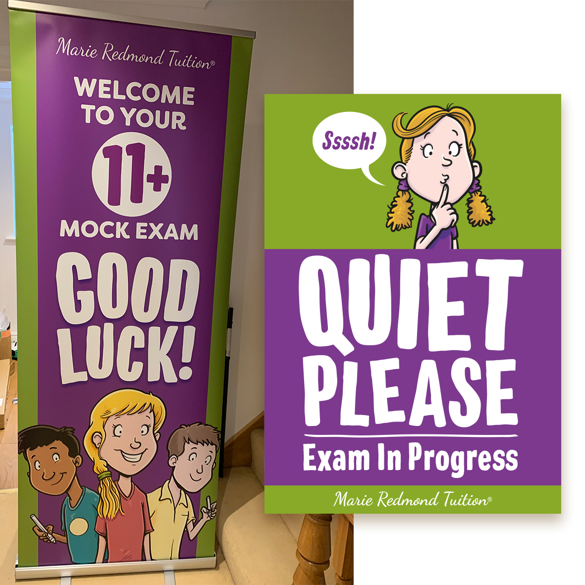 Roller banner and Quiet Please sign