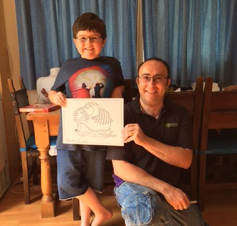 Birthday party cartooning with Josh