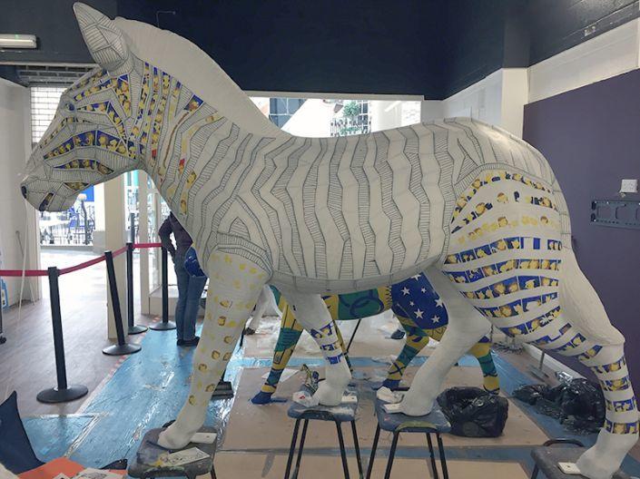 A view of Trojan Zebra's side