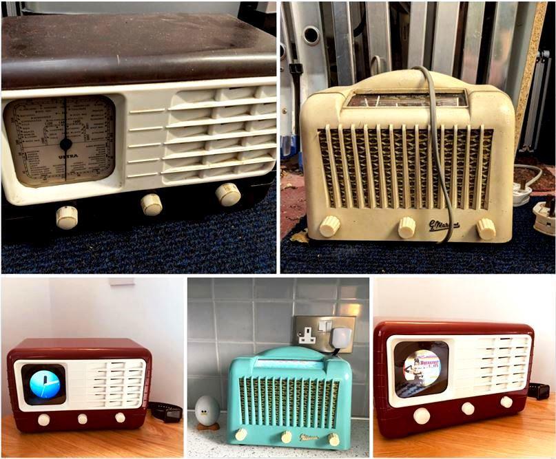Google Mini & Amazon Echo Dot in old radio cases