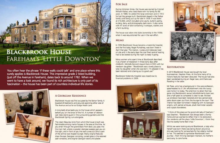 Blackbrook House Featured In Fareham Today Magazine image