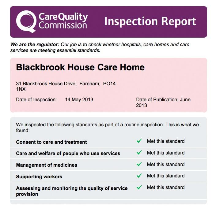 Blackbrook CQC report