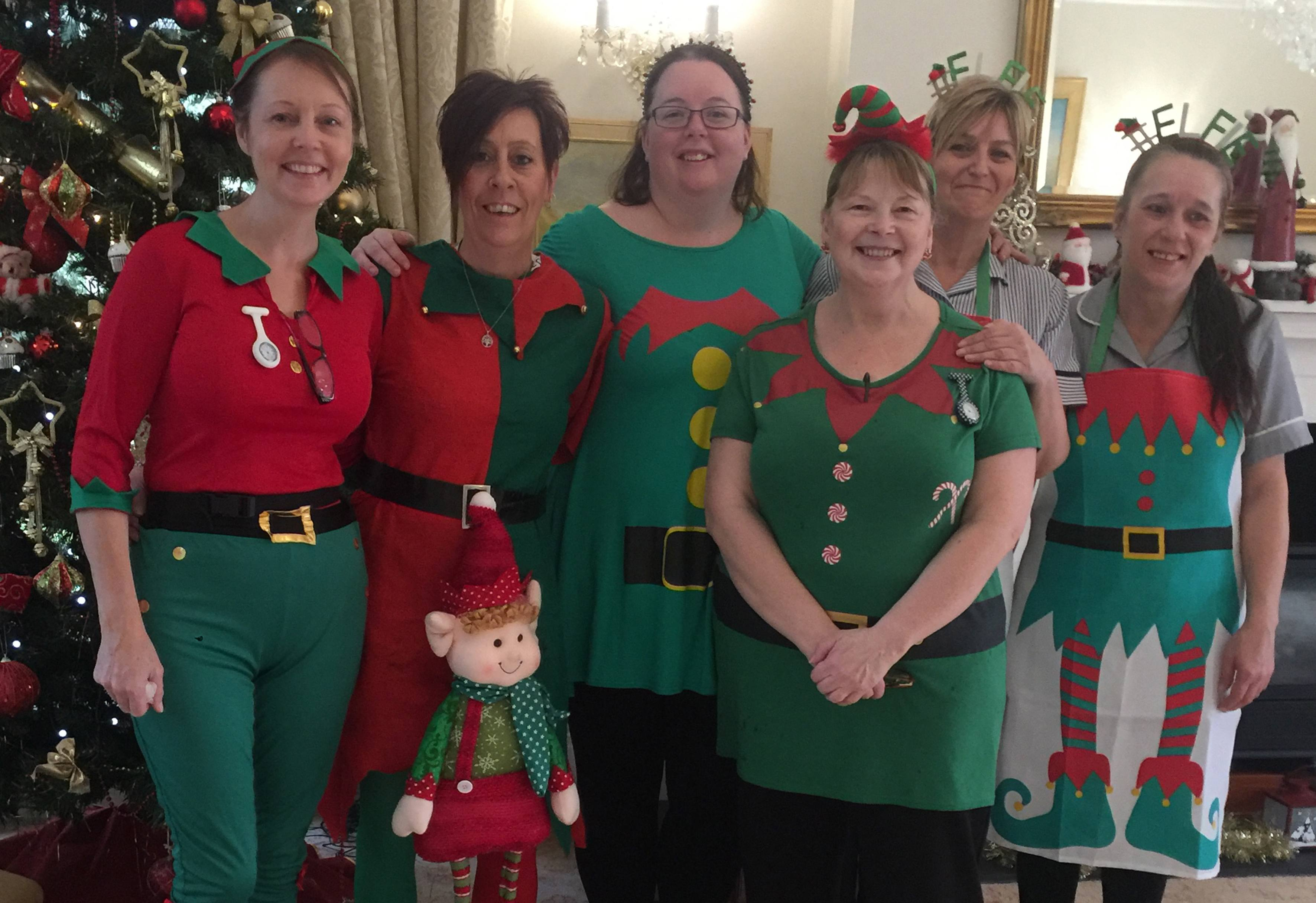 Blackbrook House staff in their elf costumes