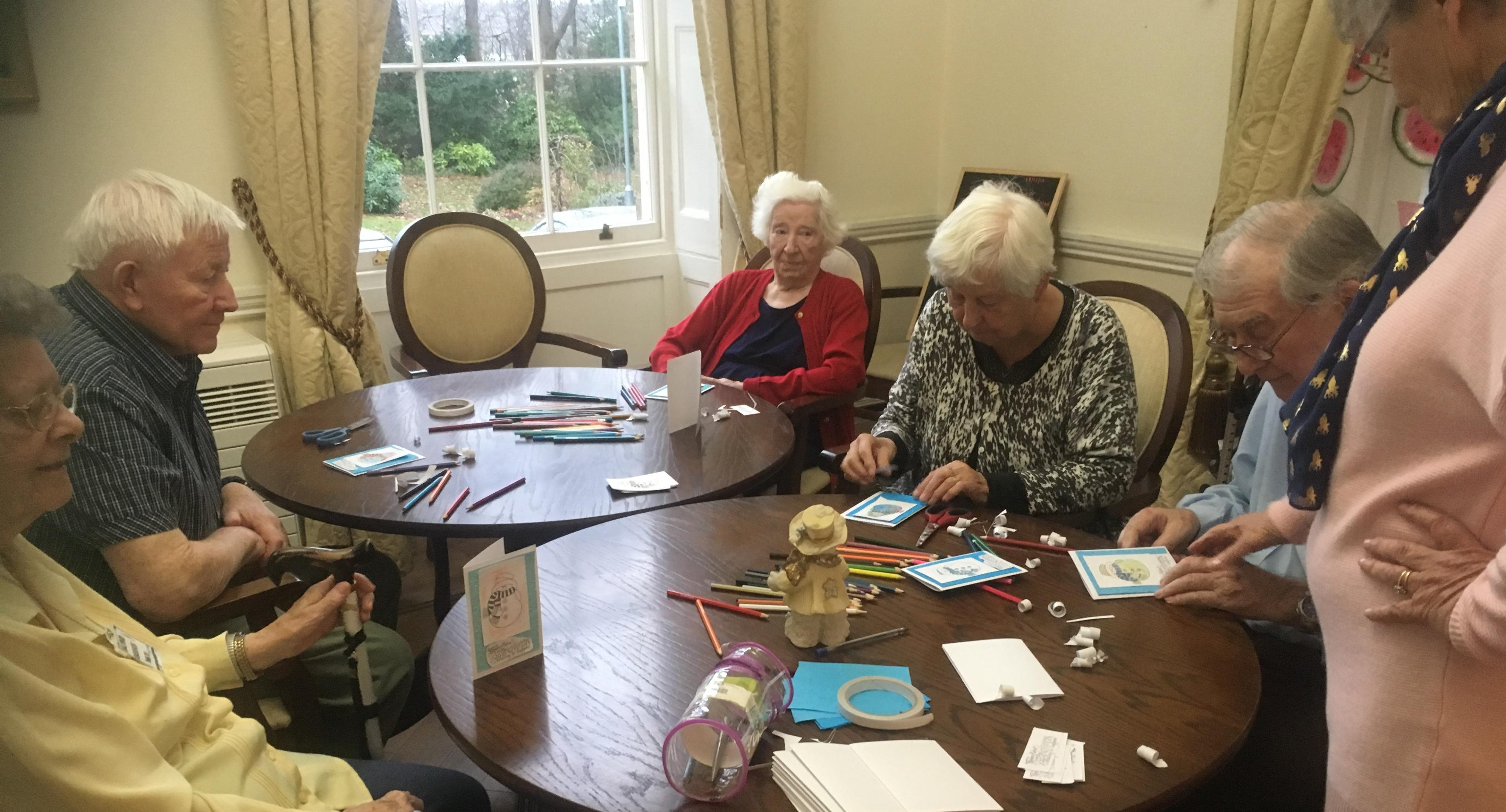Making Christmas cards at Blackbrook House
