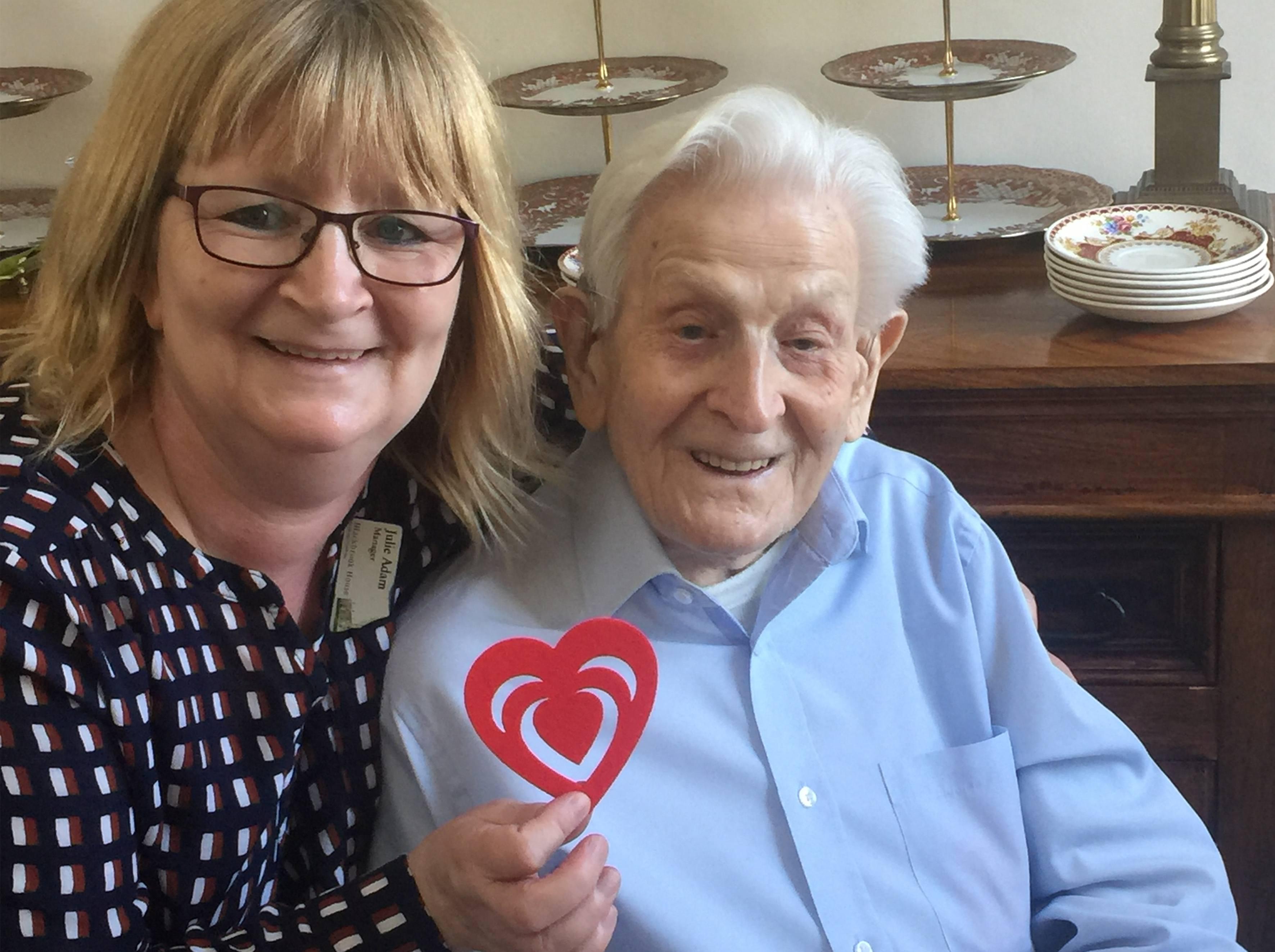Manager Julie with centenarian Arthur