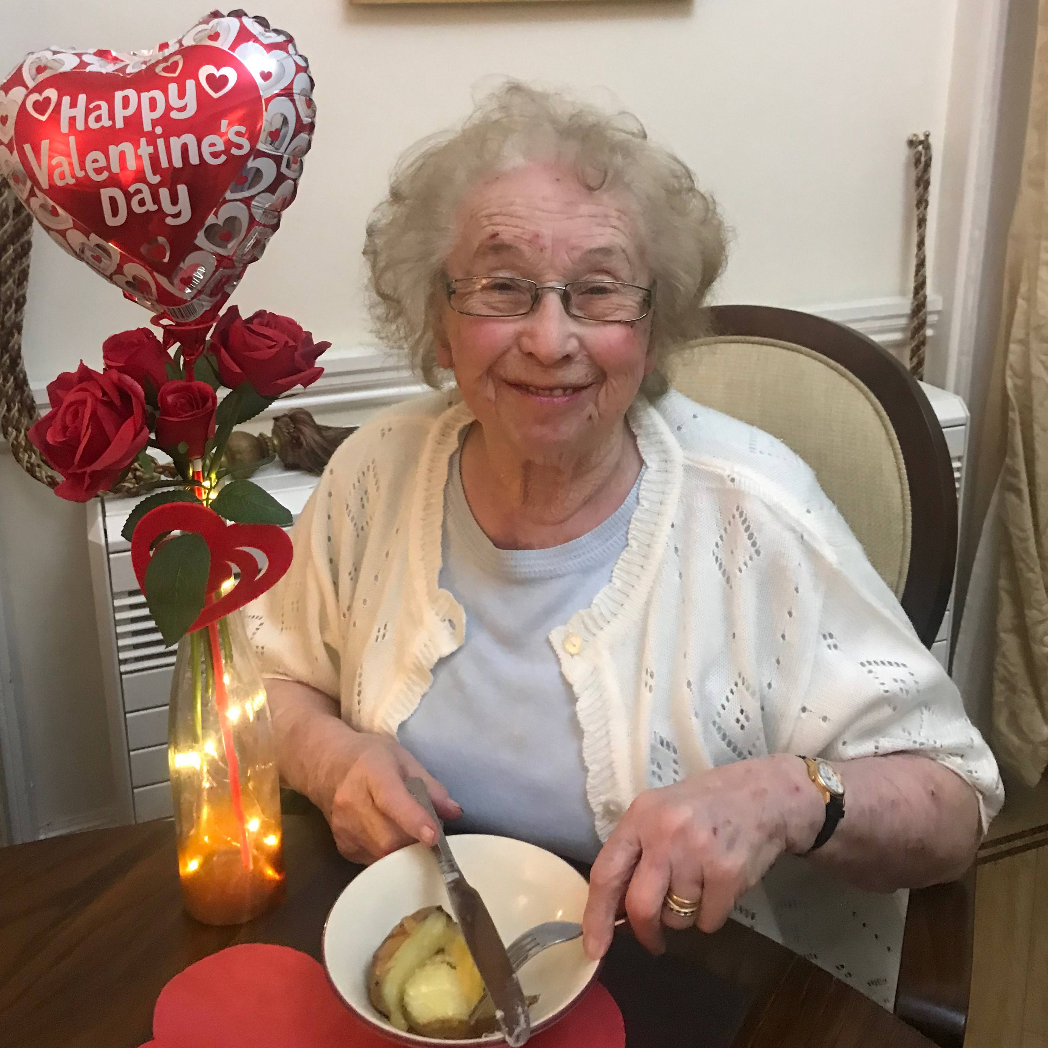 Enjoying the Valentine's Day tea at Blackbrook House Residential Care Home