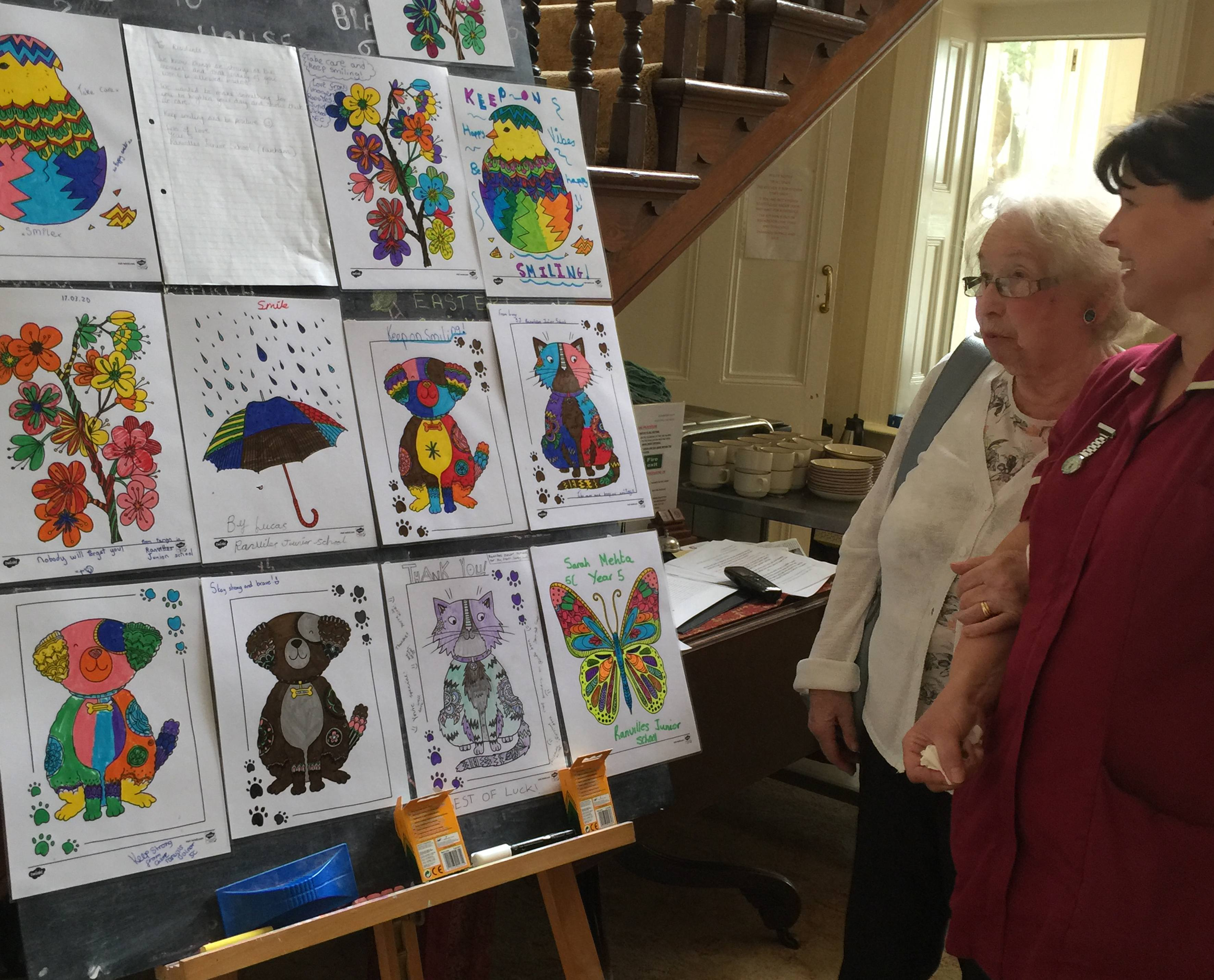 Viewing the children's artwork