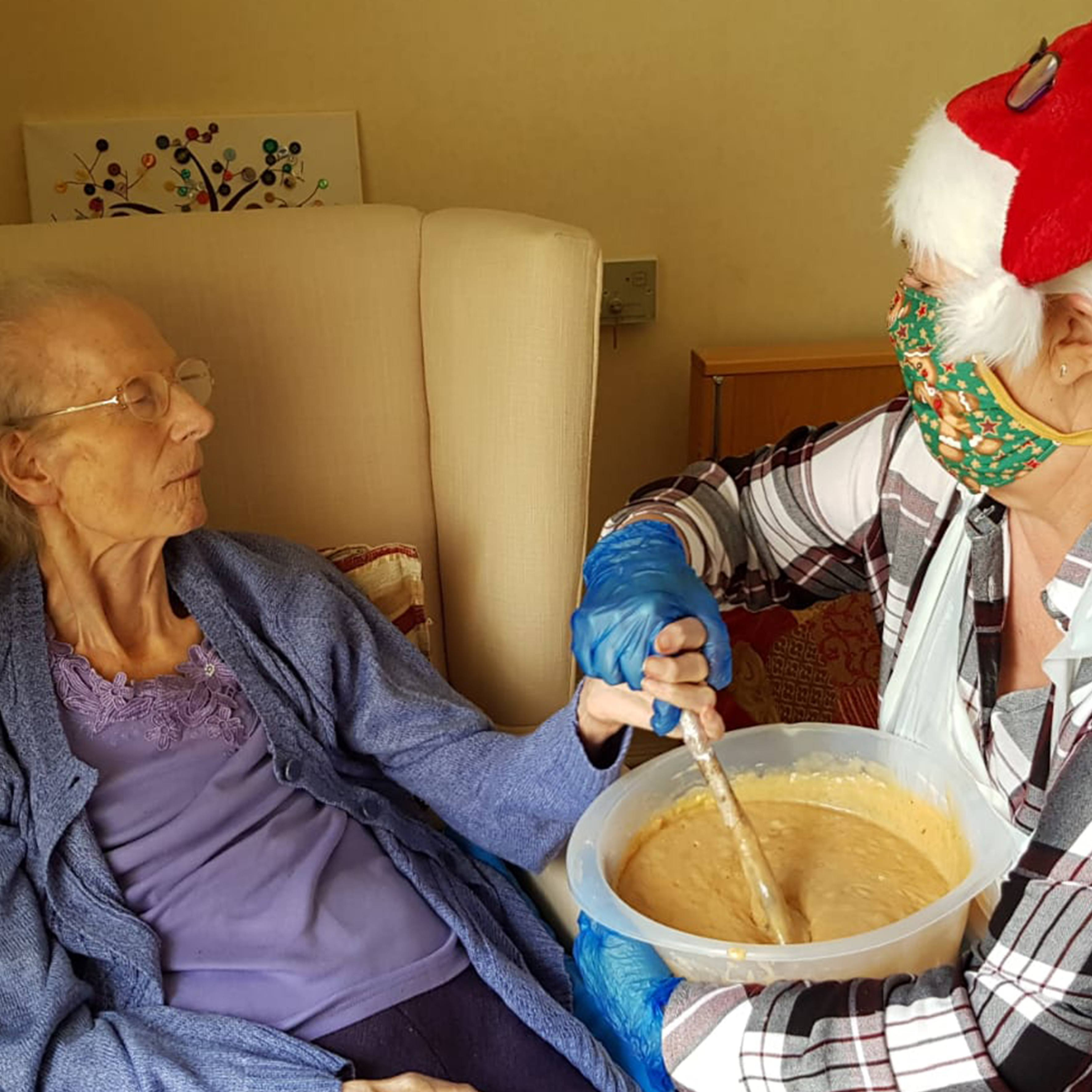 A helping hand with the cake mix