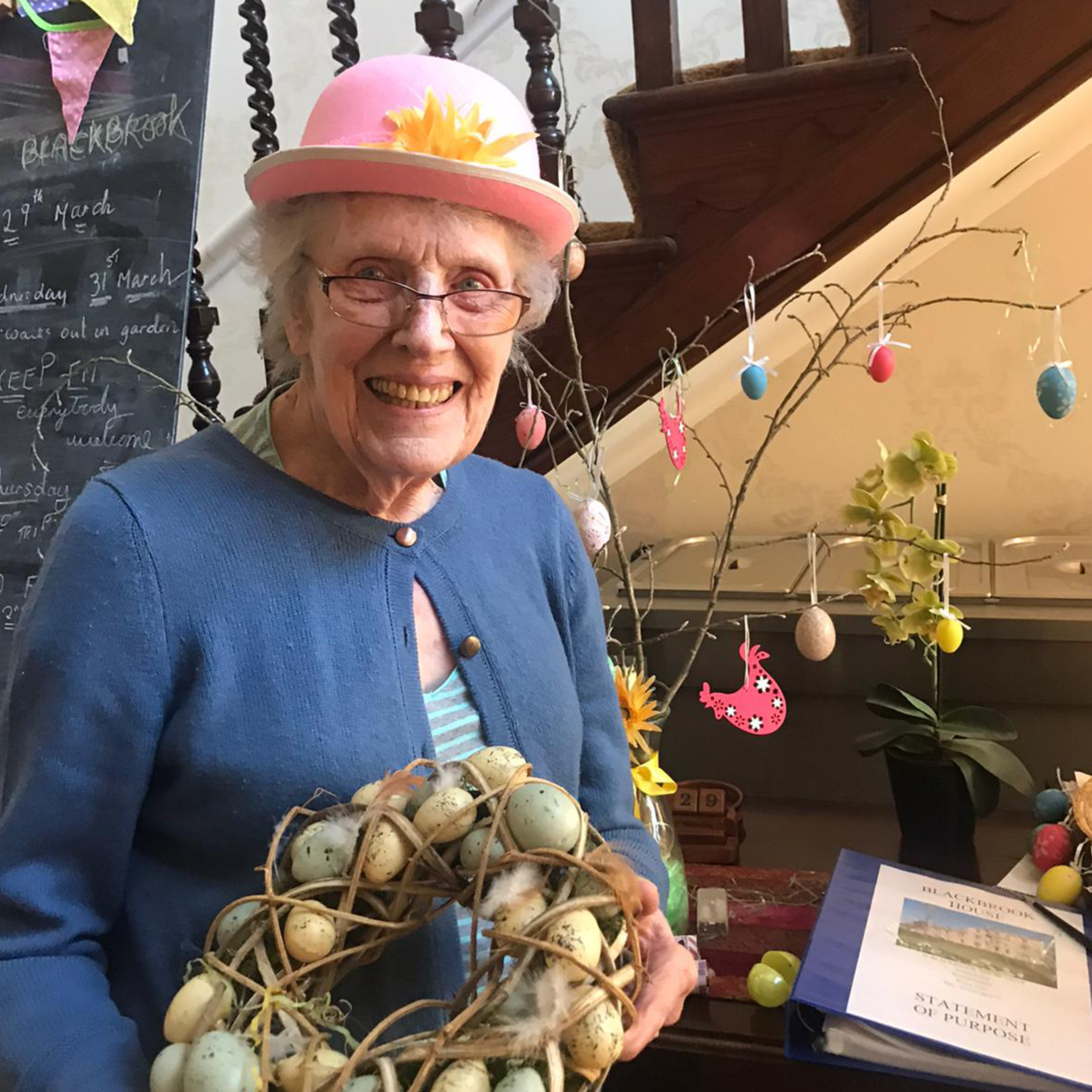 Preparing the Easter decorations at Blackbrook House