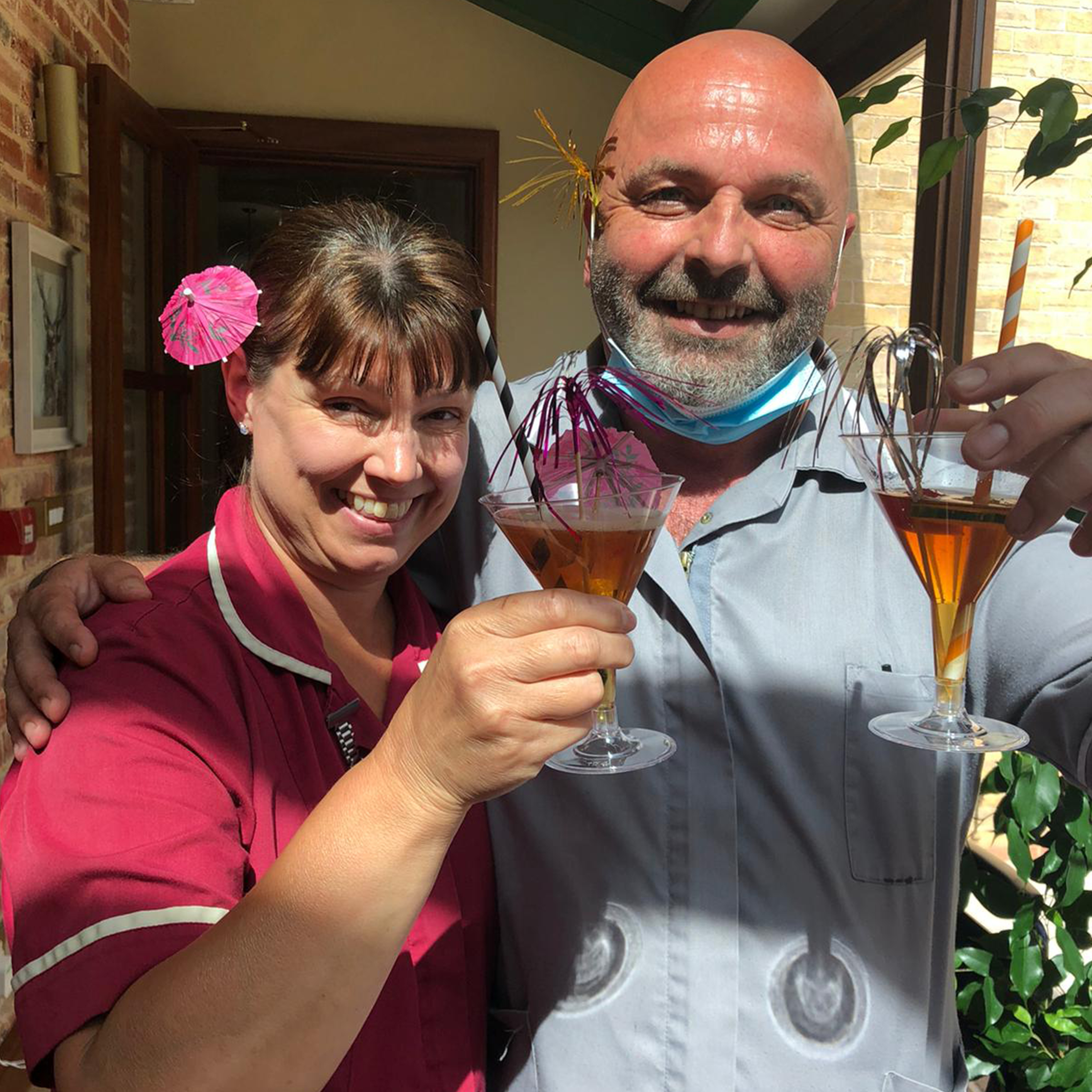Staff and residents enjoy their Pimms