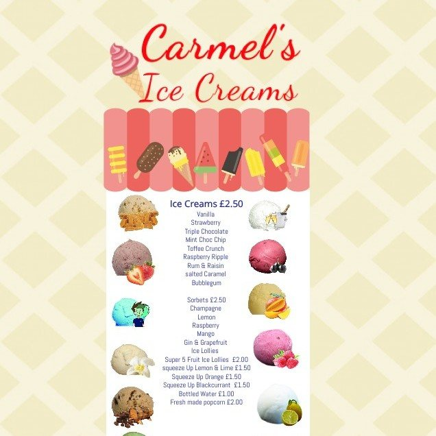 Carmel's Ice Cream Menu