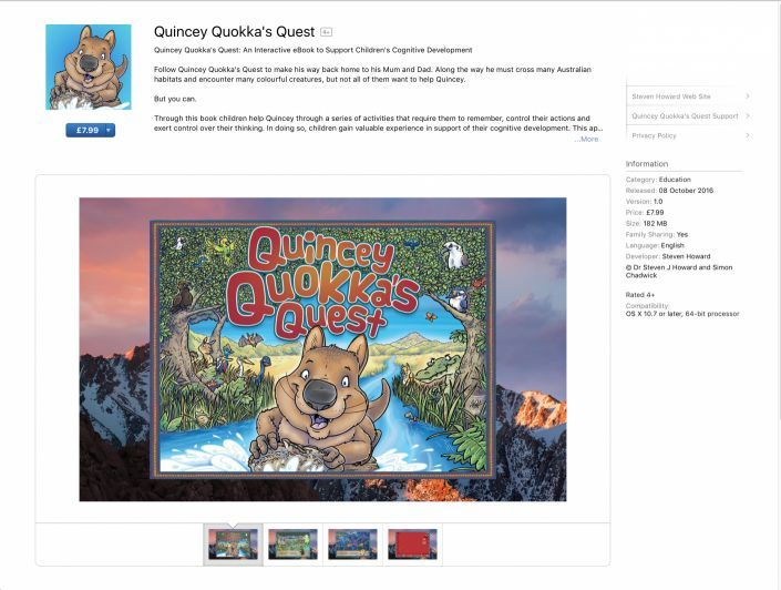 Screen grab from Apple's App Store of the Quincey Quokka's Quest app