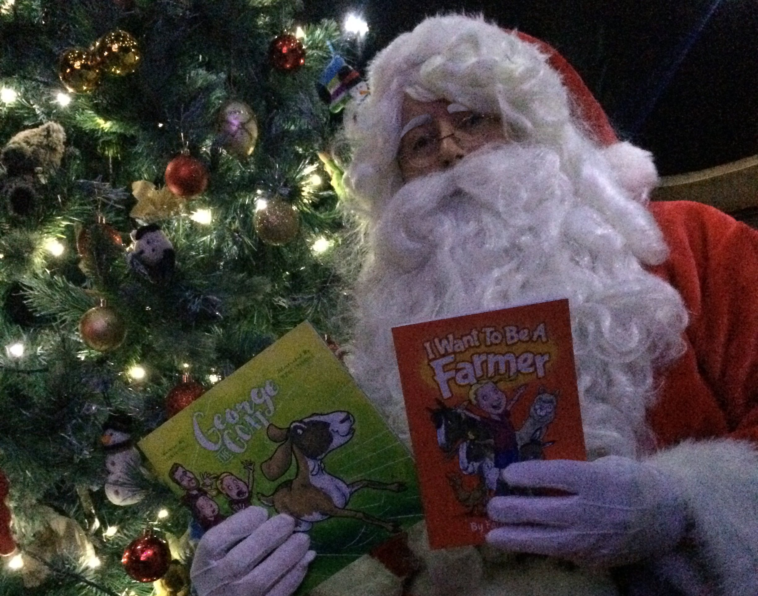 Father Christmas reads two new books from Ceratopia Books