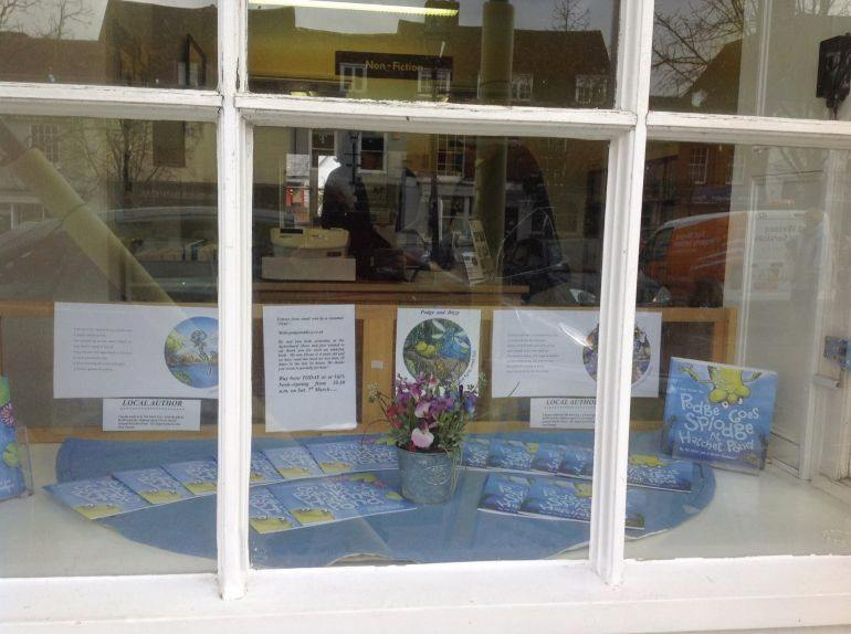 A window display in Alresford, Hampshire, of Val's books