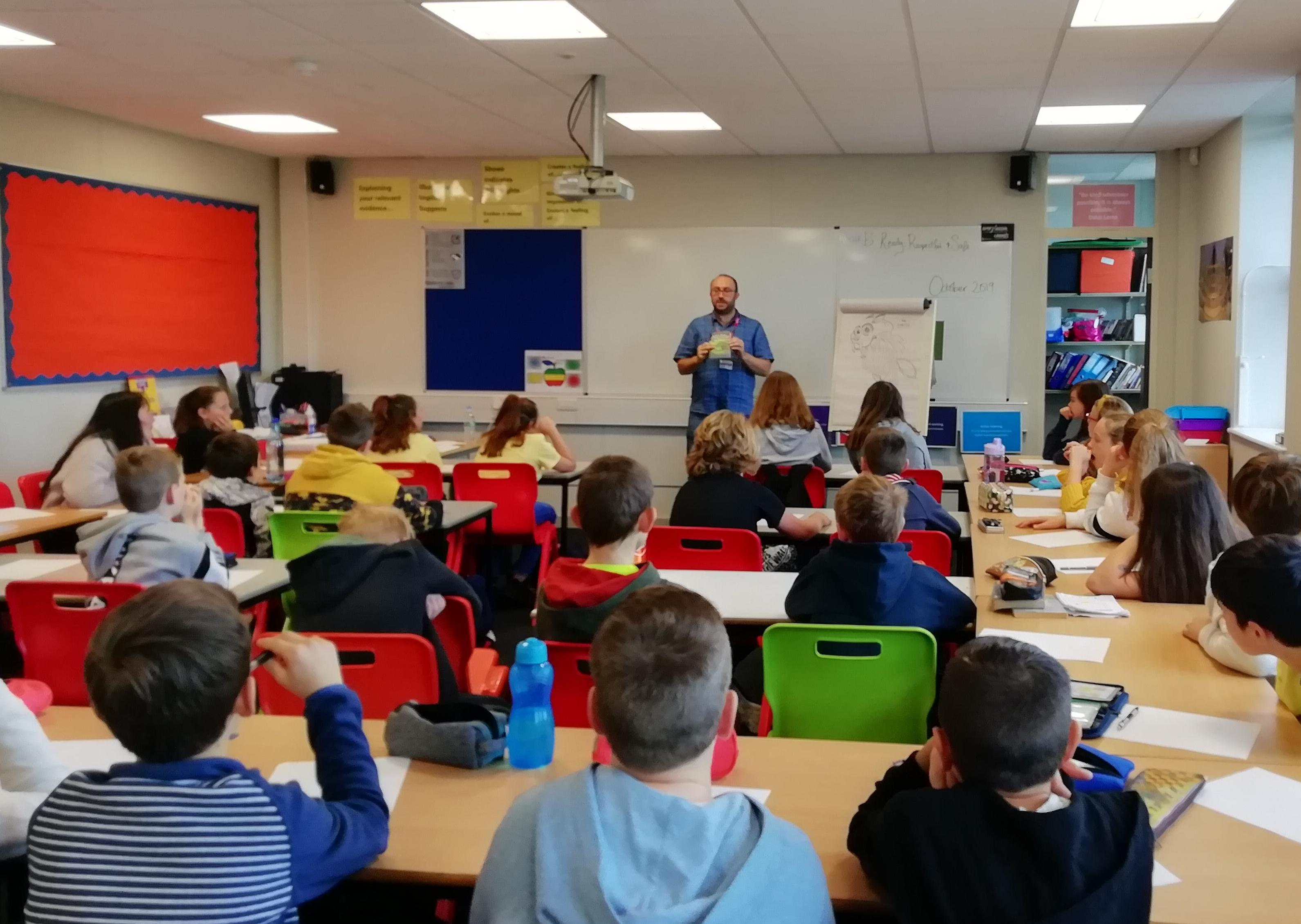 Simon talks to one of the Year 7 classes