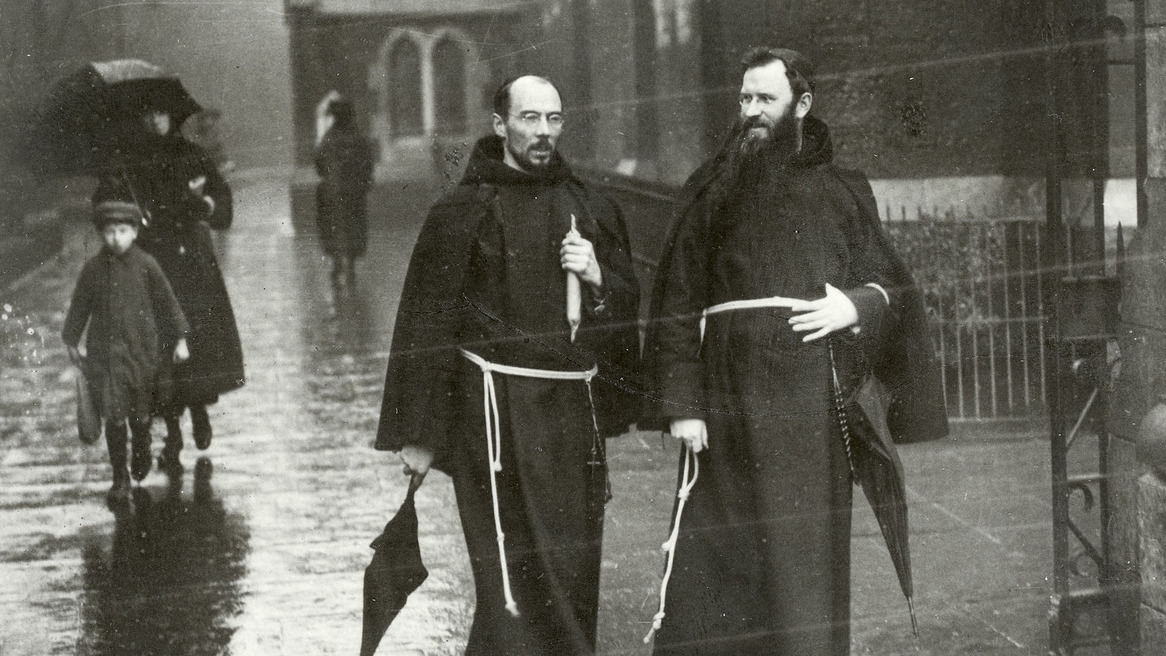 Two monks in habits