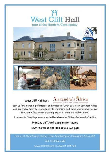 Flyer for Alexandra's Africa dementia friendly talk at West Cliff Hall