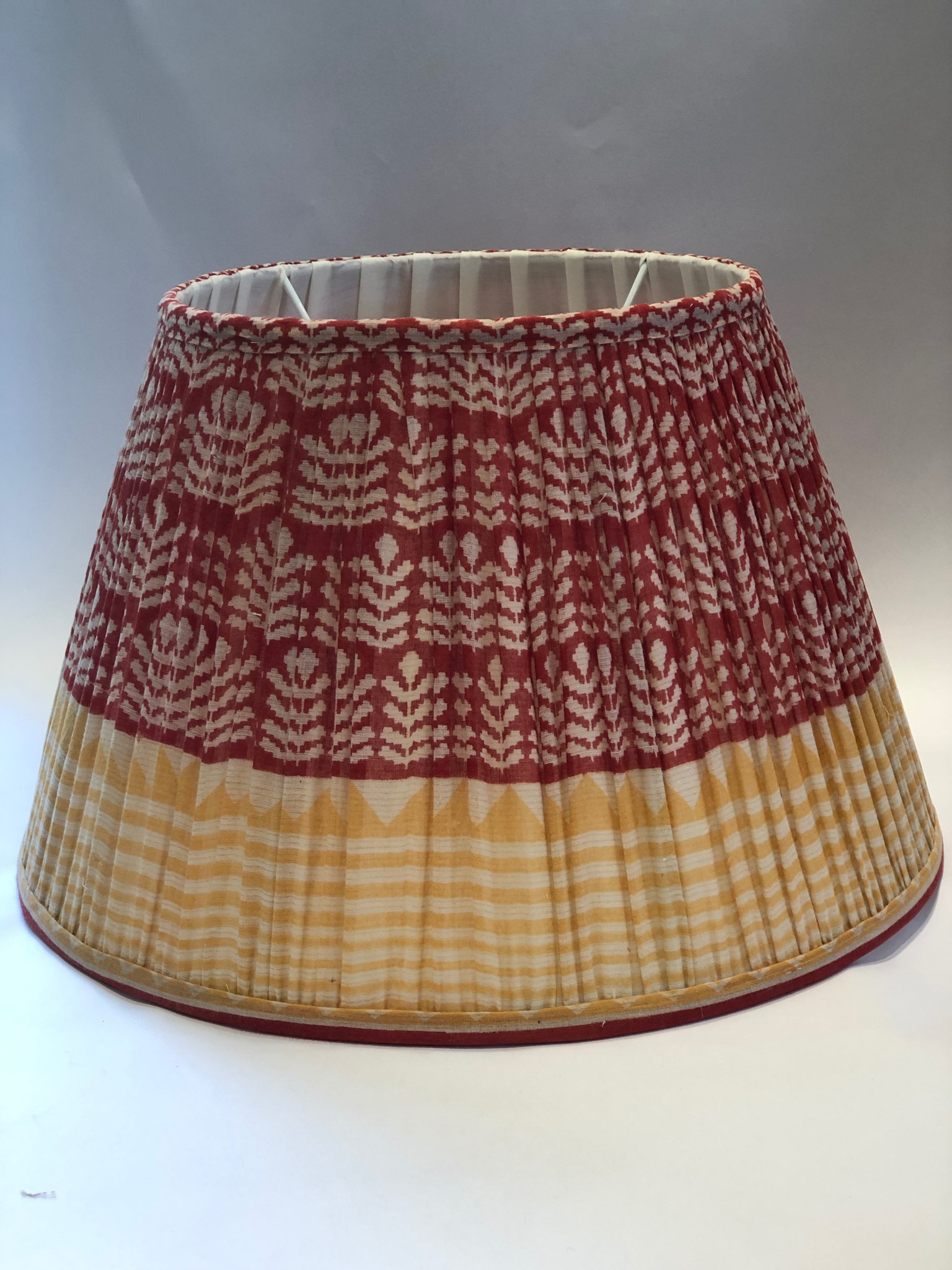 Red & Yellow Cotton Sari Lampshade