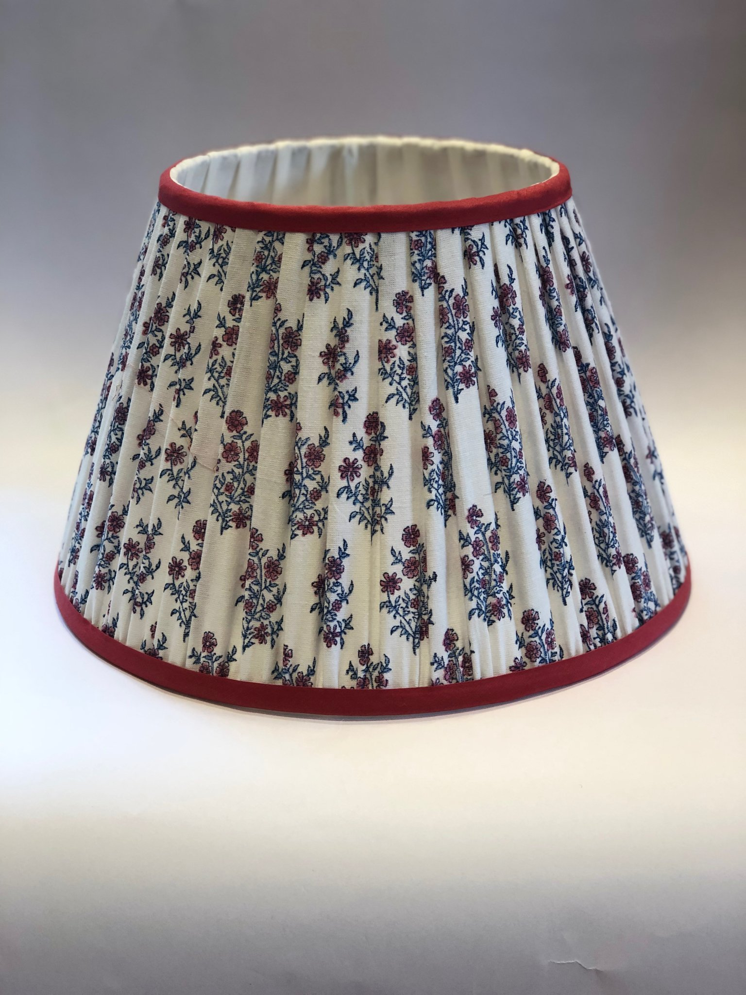 Mayo Flowers Pink & Blue Lampshade with Pink Trim