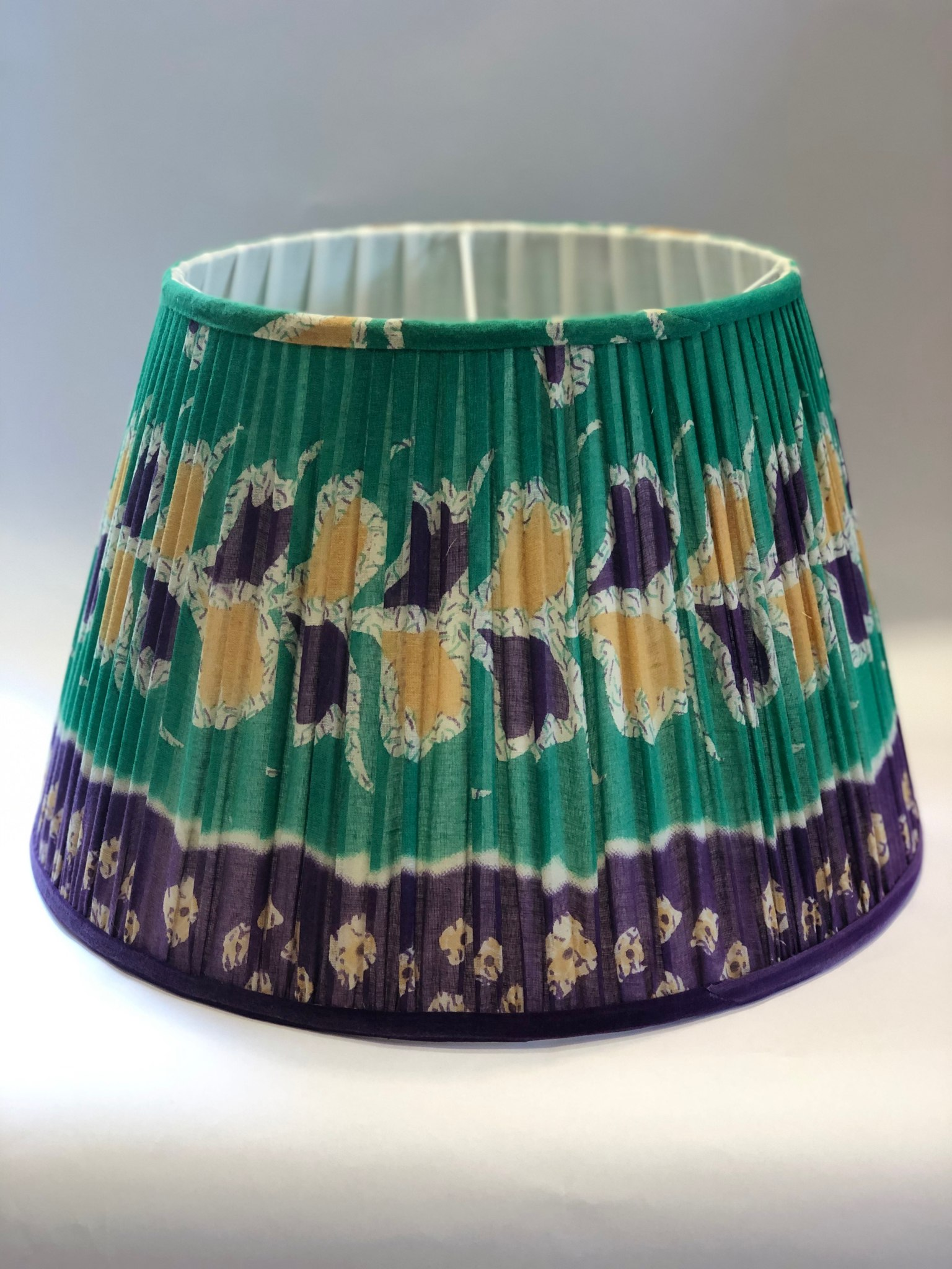 Green & Purple Cotton Sari Lampshade
