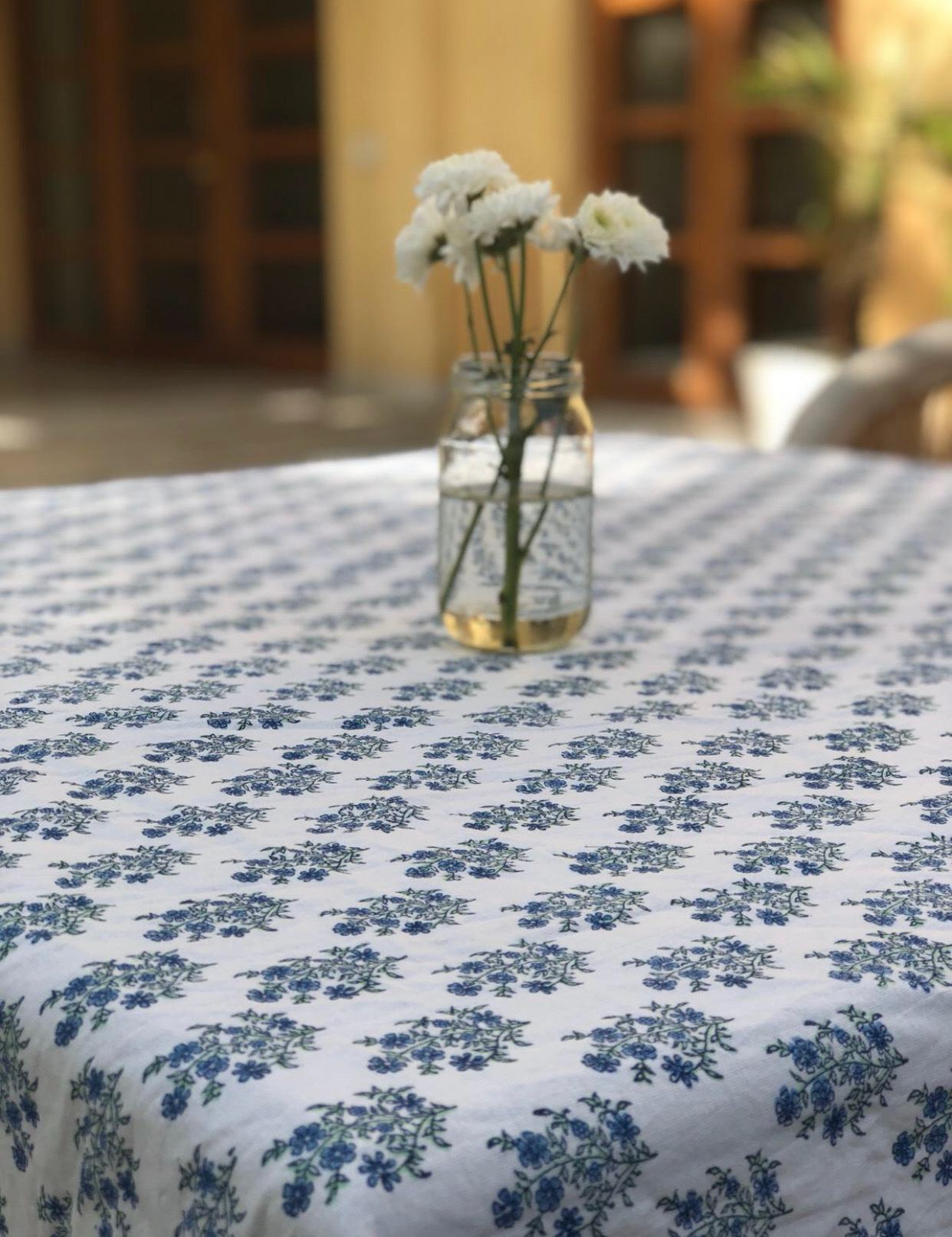 Mayo Flowers Green & Blue Tablecloth