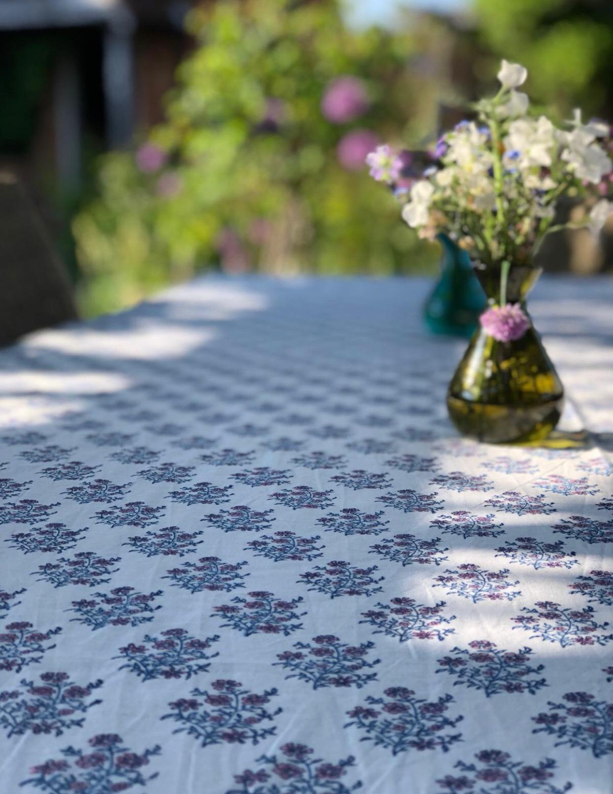 Mayo Flowers Pink & Blue Tablecloth