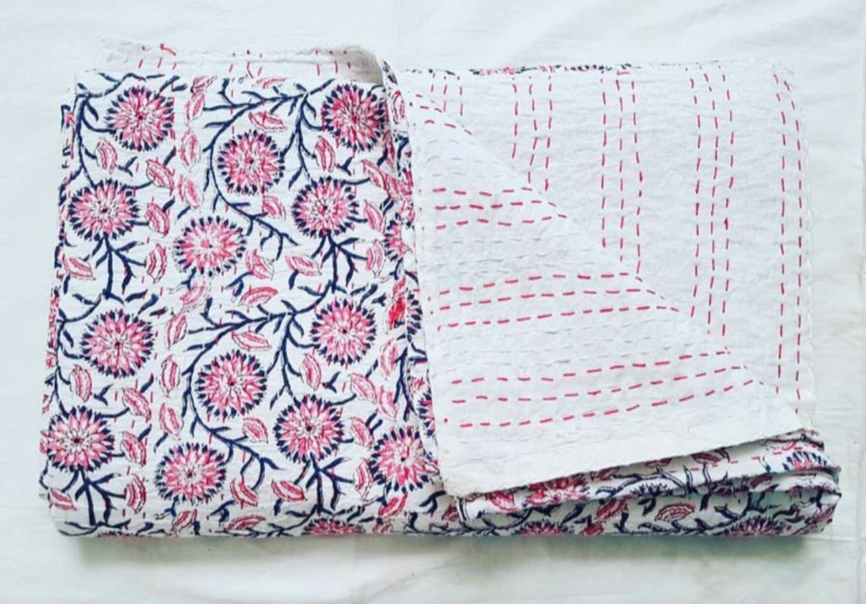 Hand Embroidered Indian Block Printed Bedspread