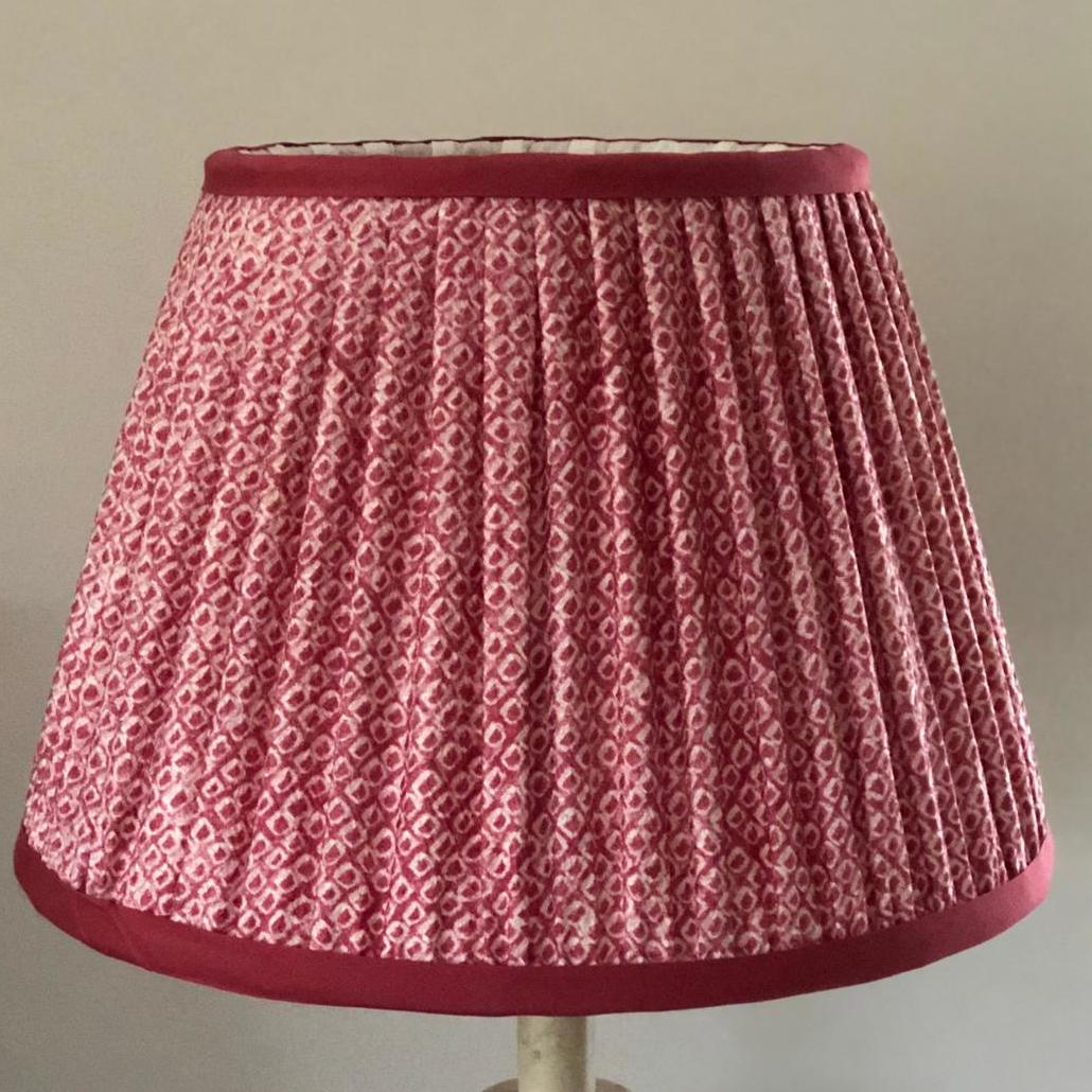 Dark Pink & Cream Raised Silk Lampshade