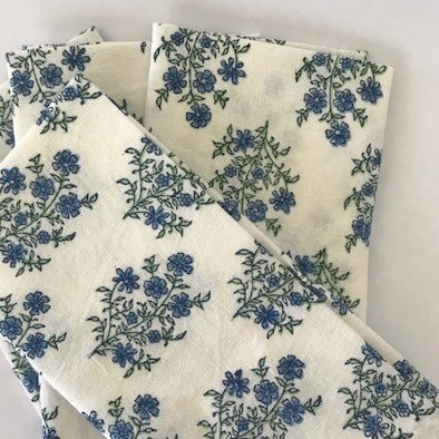 Mayo Flowers Green & Blue Napkins - set of 5