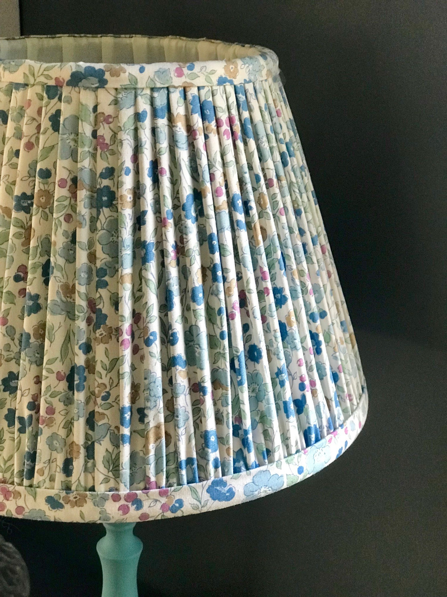 SOLD OUT Printed Liberty Print Cotton Lampshade - Blue & Pink