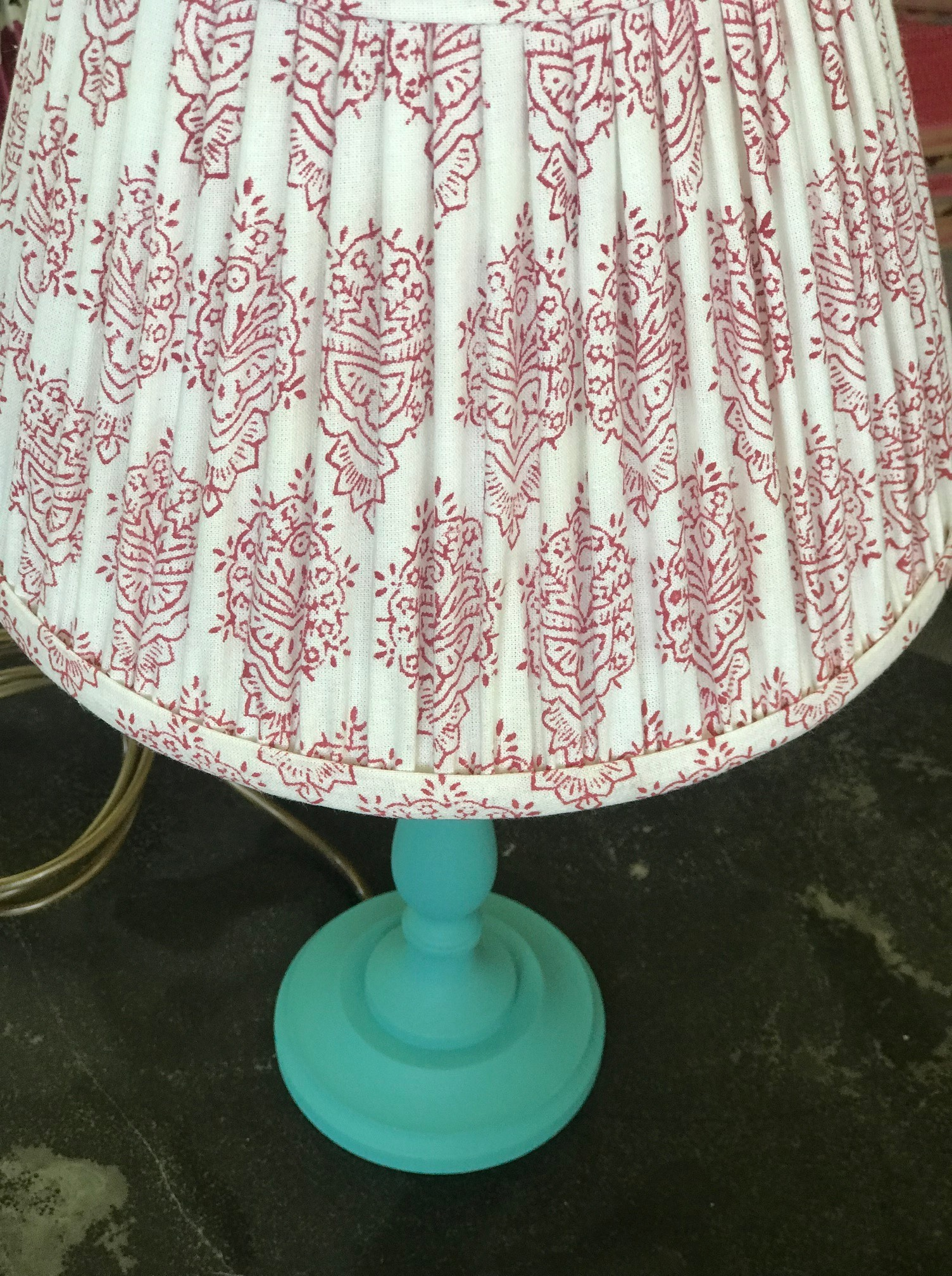 SOLD OUT Red & White Block Print Cotton Lampshades