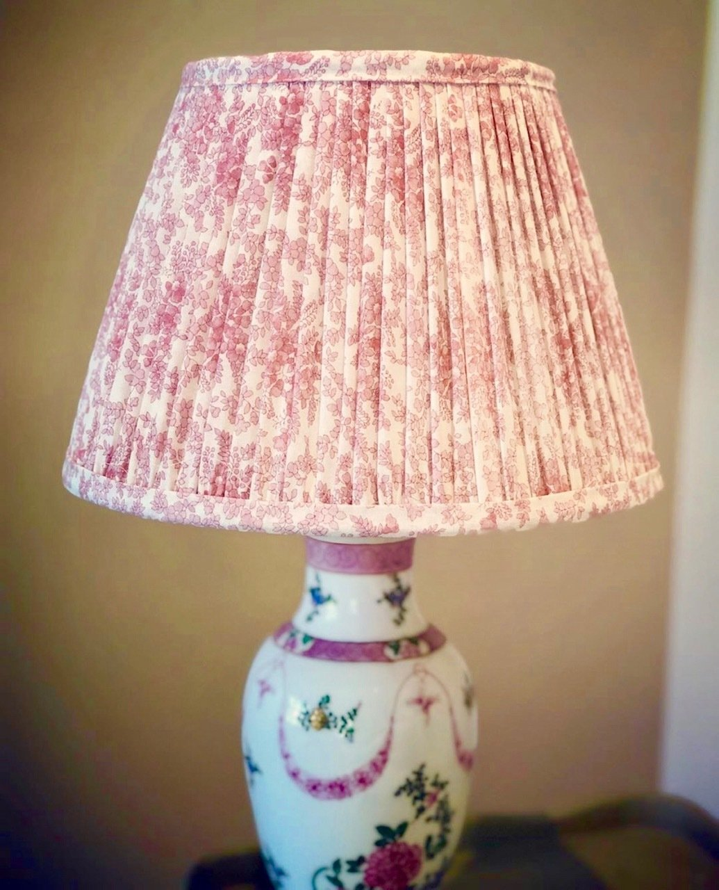 SOLD OUT Printed Liberty Print Cotton Lampshade - Pale Pink & White